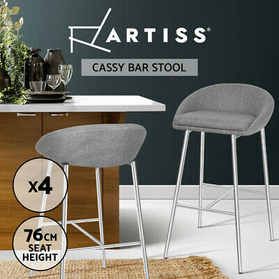 4x Bar Stools Fabric Bar Stool Kitchen Dining Chair Chrome Steel Legs Grey 5902