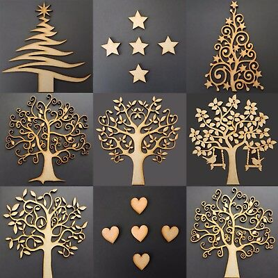 Wooden MDF Family Trees Hearts- Craft Blank Shape Christmas Guestbook Stars Art
