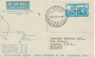New Zealand 11 - 1934 TRANS TASMAN stamp on SOUTHERN CROSS COVER mix-up