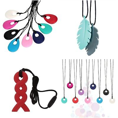 Autism ADHD Sensory Chew Silicone Necklace Pendant BPA Free Twist Teardrop