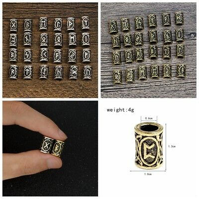 Beads DIY Jewelry or Hair Beard 24pcs Different Kinds of Viking Rune Beads