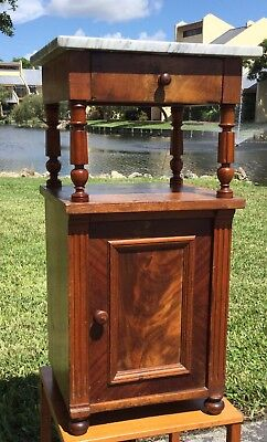 Victorian Walnut Marble Two Tier Commode/night Stand / End Table