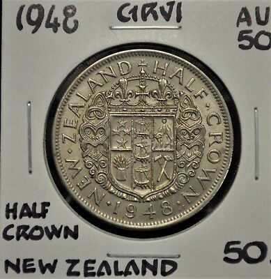 1948 New Zealand Half Crown AU-50