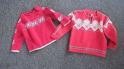 Hanna Andersson Lot of 2 Red Winter Sweaters 90 100