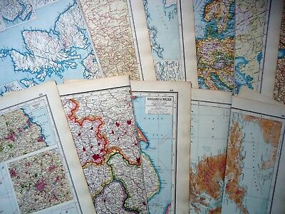 ORIGINAL World MAPS (x12) Date 1920 ~ For ORIGAMI & SCRAPBOOKING ~ 97 Years Old