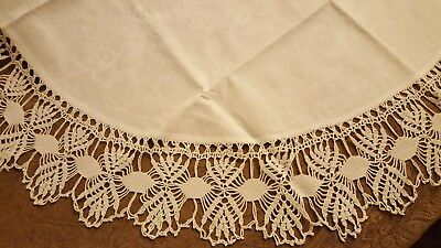 """White 34"""" Round, Tablecloth With 5.5"""" Crocheted Edge"""