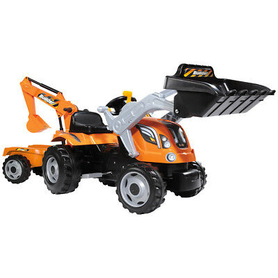 Smoby Builder Max Pedal Ride On Orange Children's Tractor With Trailer Digger