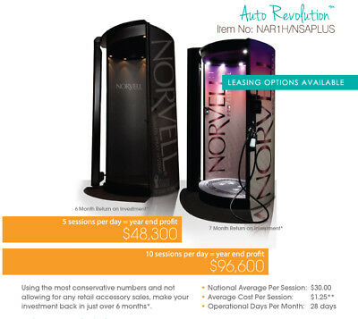 Norvell Auto Revolution Plus Spray Tan Booth for tanning bed Own $19 Per Day