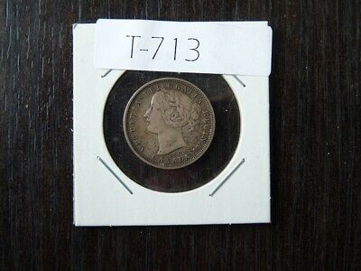 vintage CANADA  1858 20 CENT SILVER LOW MINTAGE T713