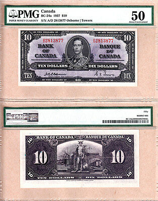 1937 $10 KGVI Bank of Canada; Scarcer OSBORNE & Towers BC-24a.  PMG AU50