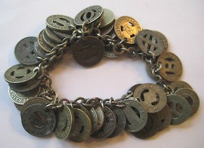 VINTAGE Instant Collection TRANSIT TOKENS From All Over The US~Charm Bracelet