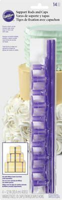 Wilton 399-5004 Stacked Cake Disposable Support Rods & Caps 14-Piece Set, Purple