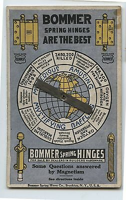 Antique Bommer Spring Door Hinges Advertsing Card w/ Question Dial Answers