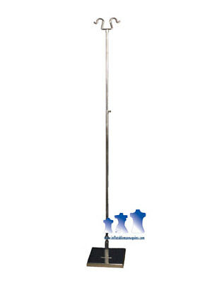 "Tall Chrome Adjustable Double Hook Stand w/ 10"" Square Base"