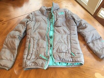 Girls THE NORTH FACE Gray Mint Puffer Winter Jacket/Coat Size 7 8