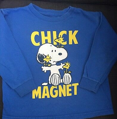 Peanuts Snoopy Chick Magnet Toddler Boys Size 4T Long Sleeve Tee Shirt