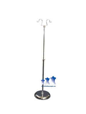 "Short Chrome Adjustable Double Hook Stand w/ 6"" Round Base"