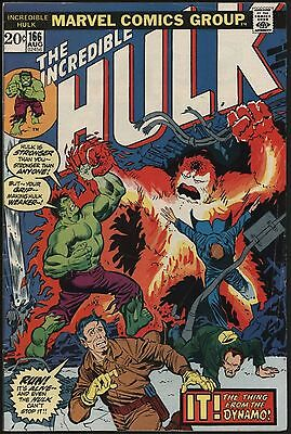 Incredible Hulk #166 Vs Zzzax With Hawkeye. Off White Pages. Going Cheap!