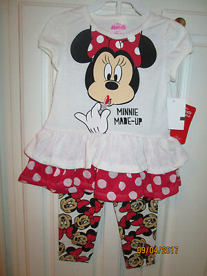 Disney Minnie Mouse Toddler Girls 2pc  Top & Legging Outfit  Size 3T