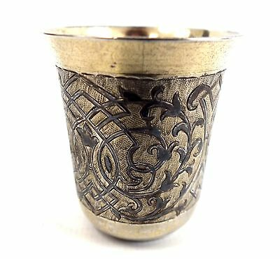 RUSSIAN SILVER 1862 84 Gilt Cup Fully Hallmarked Approx. 35gr - 4.5cm  - S70