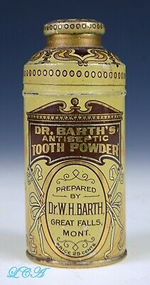 Antique Dr BARTH antiseptic TOOTH POWDER tin GREAT FALLS MONTANA unique