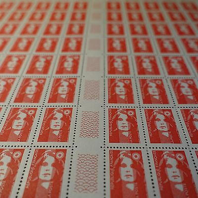 FEUILLE SHEET MARIANNE No.2806b x100 VARIETY WITHOUT PHOSPHORUS NEUF MNH SIDE