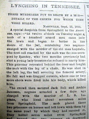 1880 newspaper - 3 NEGRO MEN LYNCHED in SPRINGFIELD Tennessee ROBERTSON COUNTY