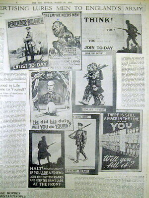 1915 newspaper w full page illus display showing BRITISH WW I RECRUITING POSTERS