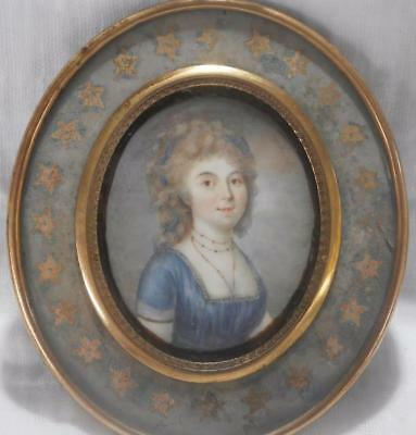FINE EARLY 1790 's FRENCH PORTRAIT MINIATURE of a PRETTY YOUNG LADY