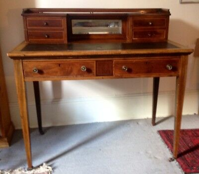 Elegant Antique Reproduction Writing Desk With Mirrored Panel
