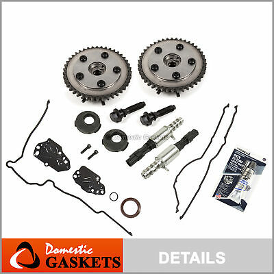 04-14 Ford Lincoln 5.4L 4.6L 3V Timing Cover Gaskets+Phasers/Sprockets+Solenoids