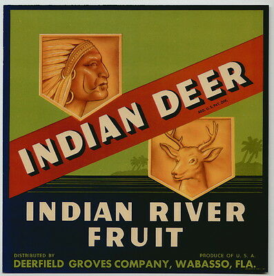 INDIAN DEER Vintage Wabasso Florida Citrus Crate Label, ***AN ORIGINAL LABEL***