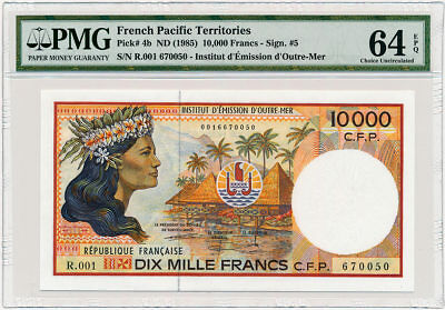 French Pacific Territories - 10,000 Francs ND/1985 - P4b * PMG Choice UNC 64 EPQ