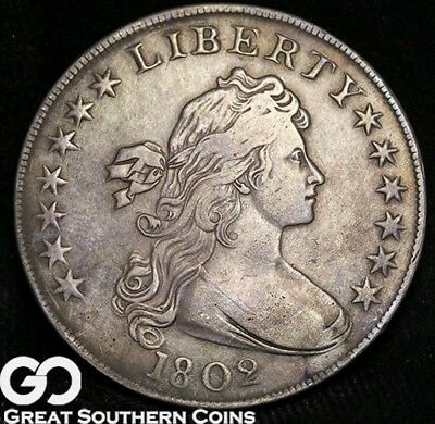 1802 Draped Bust Silver Dollar, Super Nice XF Early Bust Dollar, Very Rare!