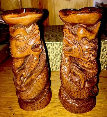 NEW Pair Of Wooden Dragon Candle Holders In Box  -  FREE PRIORITY SHIPPING