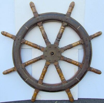 "SHIPS WHEEL ANTIQUE MASSIVE HEAVY 43"" diameter 61 lbs weight w/ METAL STRAPPING"
