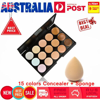 15 Color Contour Face Makeup Concealer Palette & Sponge Puff Makeup Set GO