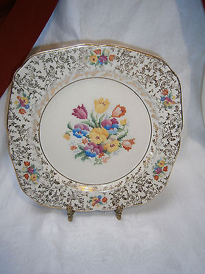 Antique H & K. Tunstall All Over Floral Chintz Petit Point Floral Dinner Plate