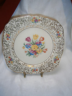 Antique H & K. Tunstall Allover Floral Chintz Petit Point Floral Breakfast Plate