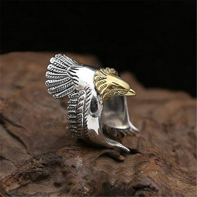 New Men's Punk Gothic Biker Vintage Silver 316L Stainless Steel Ring - EAGLE