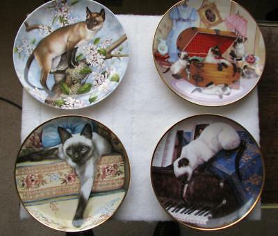 4 Limited Edition Siamese Cat Collectors Plates Porcelain