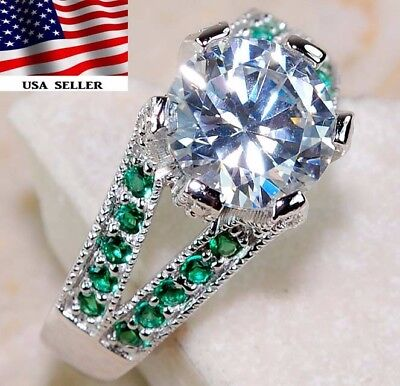 2CT Emerald & White Topaz 925 Solid Genuine Sterling Silver Ring Jewelry Sz 7