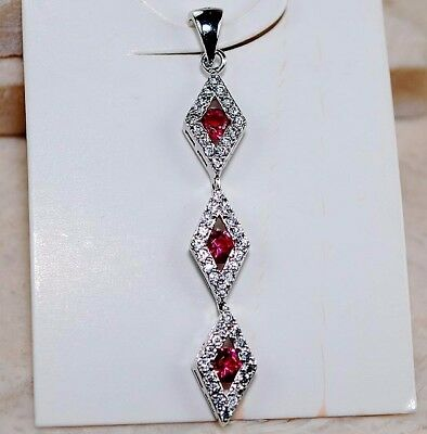 1CT Ruby & White Topaz 925 Solid Genuine Sterling Silver Pendant Jewelry
