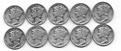 Lot of 10 Very Nice 90% Silver Mercury Dimes Dated 1943-P and S