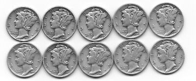 Lot of 10 Very Nice 90% Silver Mercury Dimes Dated 1944-P, D and S