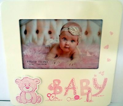 Baby Keepsake Photo Frame With 3D Pink Teddy Bear Christening Newborn Gift Bn