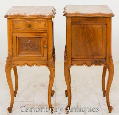Pair French Antique Satin Birch Bedside Cabinets Nightstands