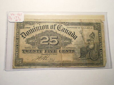 1900 25 Cent Fractional Currency Note Dominion Of Canada/ Folds