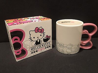 Hello Kitty Cafe Pop-Up Store PINK BOW Handle MUG Cup Brand New In Box