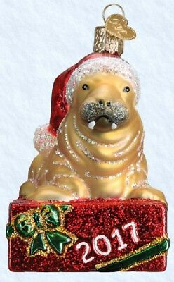 2017 Old World Christmas Holiday Walrus Glass Ornament 12479 Decoration FREE BOX